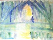 Schattenspiel, Blauen schatten, Gelbe reflektion, Aquarell