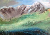 Nebel, In den bergen, Mit wolken, Malerei