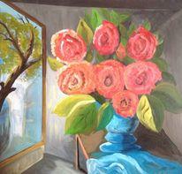 Fenster, Licheinfall, Rose, Malerei