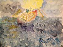 Sturm am see, Landschaft, Malerei, Aquarell
