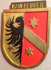 Schnitzerei selbst gefertigt, Gelb, Stern, Schwarzer halbadler