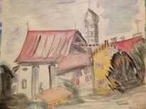 Bodensee, Malerei, Treppenstufenmauer, Schloss