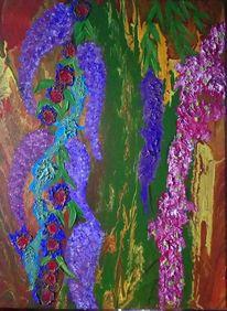 Lila, Blätter, Acrylmalerei, Malerei