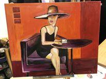 Rot, Modern, Ölmalerei, Frau