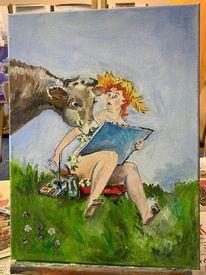Frau, Kuh, Akt, Oben