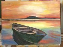 Abendhimmel, Meer, Boot, Süden