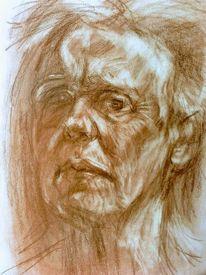 Zeichnung, Skizze, Portrait, Rötelstift