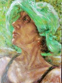 Hut, Sonnenhut, Portrait, Malerei