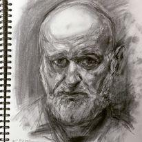 Zeichnung, Kohlezeichnung, Skizzenbuch, Portrait