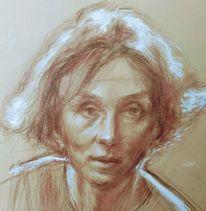 Zeichnung, Skizze, Rötelstift, Portrait