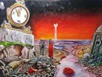 Malerei, Acrylmalerei, Uhr, Vanitas