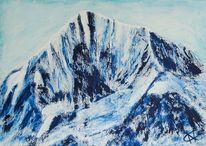 Acrylmalerei, Berge, Malerei, Mischtechnik