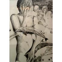 Figural, Fische, Zeichnung, Billard