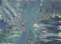 Abstrakt, Acrylmalerei, Blau, Natur