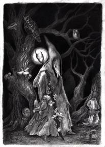 Wald, Uhu, Zeichnung, Geist