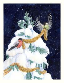 Vogel, Gimpel, Baum, Winter