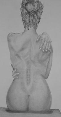 Rücken, Akt, Hand, Frau