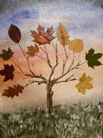 Mischtechnik, Malerei, Natur, Baum