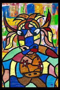 Malerei, Abstrakt, Kuh, Tiere