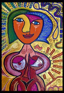 Abstrakt, Frau, Körper, Malerei