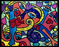 Blumen, Malerei, Gesicht, Menschen