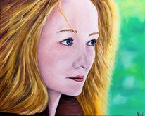 Frau, Blaue augen, Rote haare, Portrait