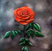 Rose, Dunst, Rot, Ölmalerei