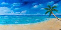 Sand, Ölmalerei, Strand, Palmen