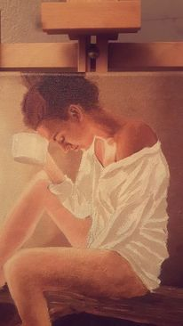 Frau, Malerei, Portrait, Tagtraum