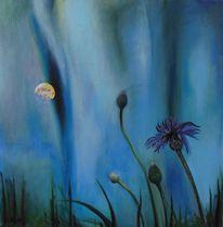 Landschaft, Kornblumen, Wiese, Mond