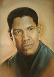 Denzel, Washington, Pastellmalerei, Portrait