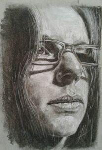 Strathmore, Selbstportrait, Kohlezeichnung, Zeichnungen