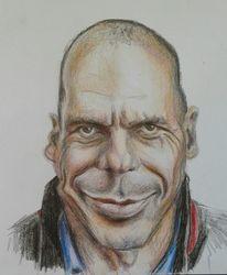 Karikatur, Varoufakis, Buntstiftzeichnung, Zeichnungen
