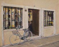 Acrylmalerei, Bassano, Italien, Gasse