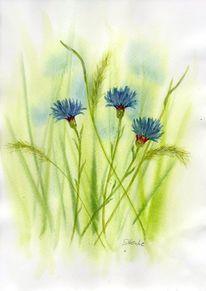 Blau, Sommerblumen, Kornblumen, Aquarellmalerei