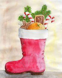 Aquarellmalerei, Weihnachten, Nikolaus, Stiefel
