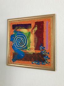 Acrylmalerei, Mischtechnik, Blau, Effekt