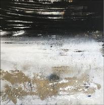 Mischtechnik, Naturgewalten, Schwarz, Malerei