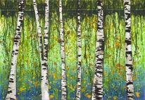 Acrylmalerei, Wasser, Ufer, Expressionismus