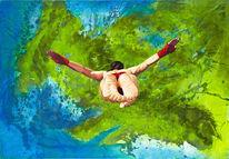 Landschaftsmalerei, Klippenspringer, Risiko, Sport