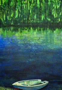 Ufer, Spiegelung, Wasser, Acrylmalerei