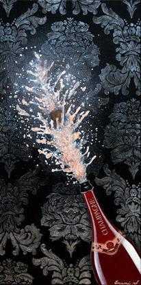 Fest, Schwarz, Acrylmalerei, Weinflasche
