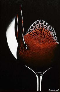 Wein, Weinglas, Schwarz, Rotwein