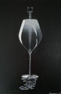 Weinflasche, Weinglas, Stillleben, Acrylmalerei