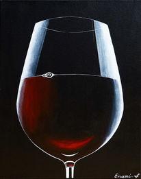 Weinglas, Schwarz, Wein, Acrylmalerei