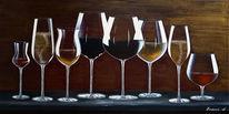 Rotwein, Acrylmalerei, Weinglas, Weißwein