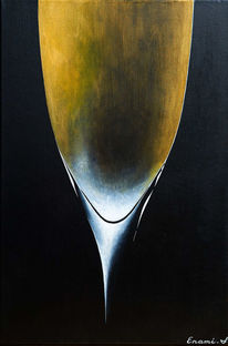 Weißwein, Schwarz, Sekt, Acrylmalerei