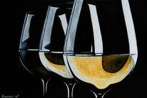 Weißwein, Schwarz, Weinglas, Acrylmalerei
