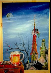 Teeglas, Blau, Malerei, Vogel