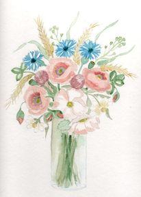 Vase mit blumenstrauss, Mohn, Heiderosen, Kornblumen